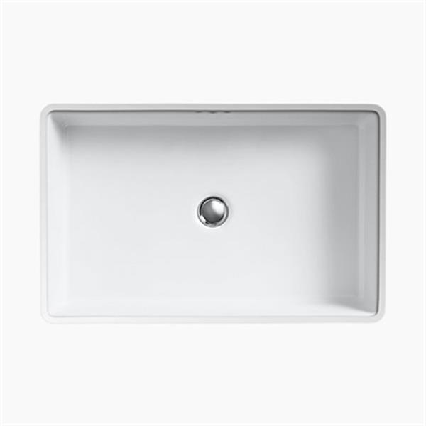 KOHLER Kathryn 23.88-in x 6.25-in White Porcelain Under Counter with Glazed Underside Sink