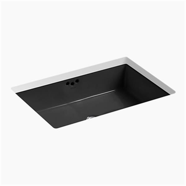KOHLER Kathryn 23.88-in x 6.25-in Black Porcelain Under Counter with Glazed Underside Sink