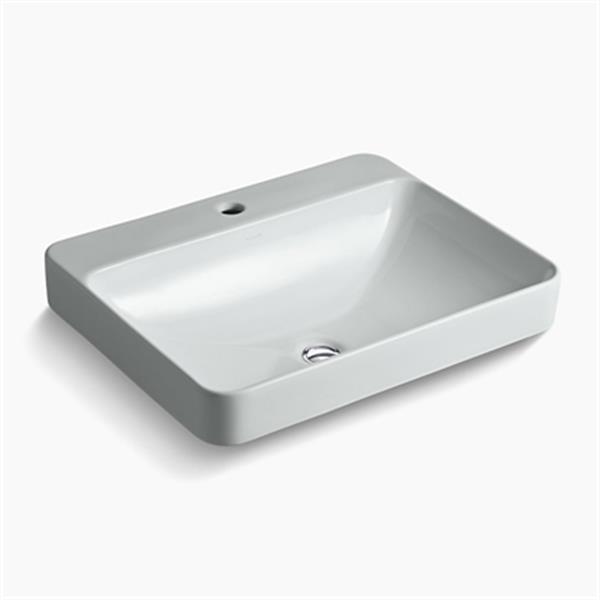 KOHLER Vox 23-in x 6.88-in Ice Grey Porcelain Rectangular Vessel Sink with Faucet Deck