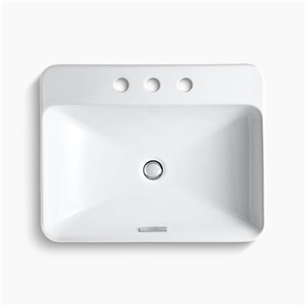 KOHLER Vox 23-in x 6.88-in White Porcelain Rectangular Vessel Sink