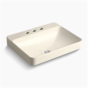 KOHLER Vox 23-in x 6.88-in Almond Porcelain Rectangular Vessel Sink
