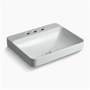 KOHLER Vox 23-in x 6.88-in Ice Grey Porcelain Rectangular Vessel Sink