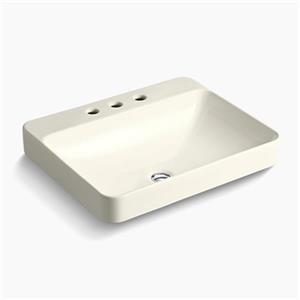 KOHLER Vox 23-in x 6.88-in Biscuit Porcelain Rectangular Vessel Sink