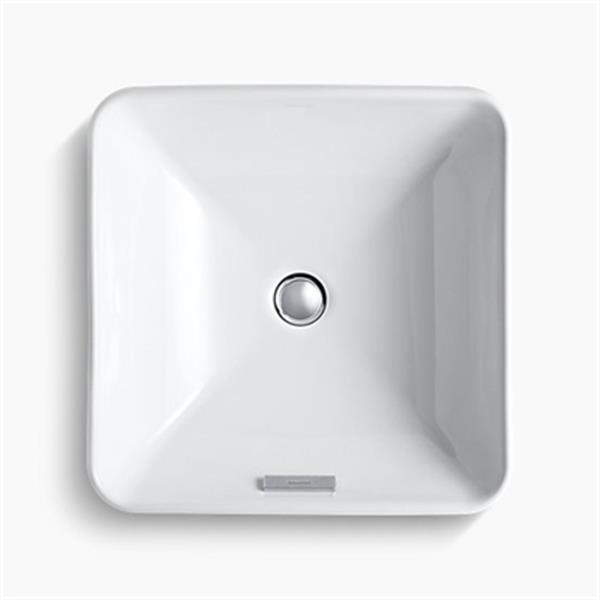 KOHLER Vox 16.25-in x 6.75-in White Porcelain Square Vessel Sink