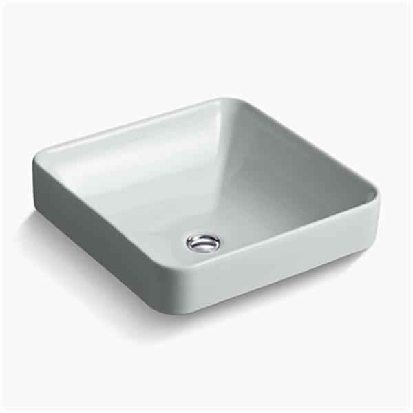 KOHLER Vox 16.25-in x 6.75-in Ice Grey Porcelain Square Vessel Sink