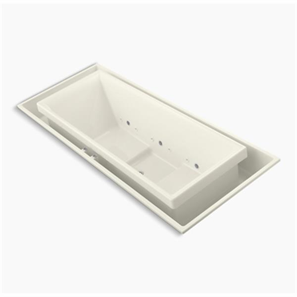 KOHLER 104-in x 41-in Drop-in Effervescence Bath with Chromatherapy and Center Drain