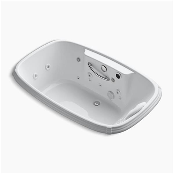 KOHLER 67-in x 42-in Drop-in Effervescence + Whirlpool with Spa/Massage Package