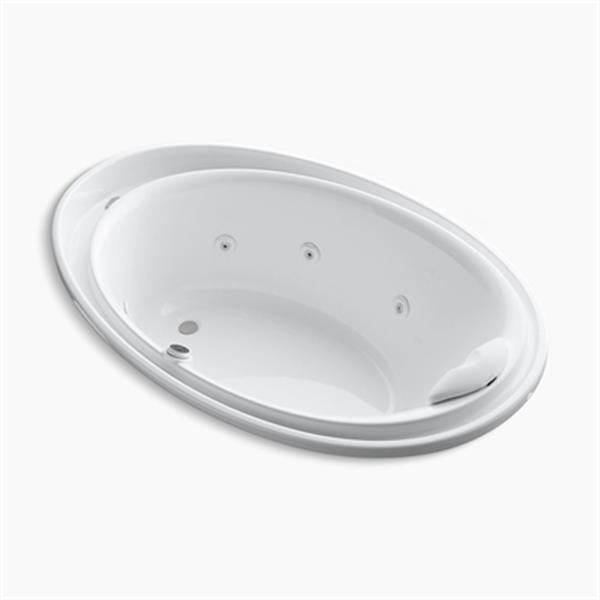 KOHLER 72-in x 46-in Drop-in Whirlpool with Massage Package, Reversible Drain and Heater