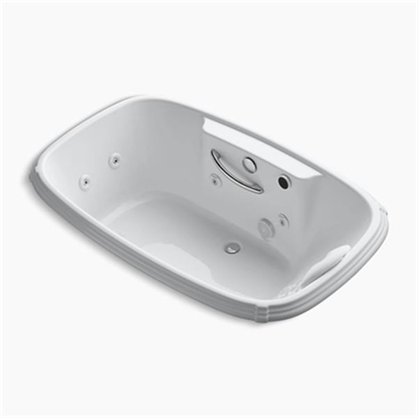 KOHLER 67-in x 42-in Drop-in Whirlpool with Heater, Grip Rail Drillings and Massage Experience