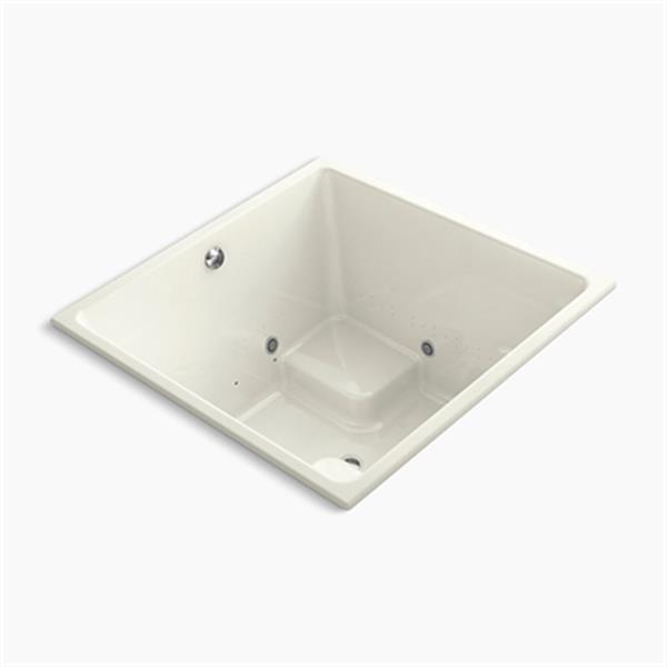 KOHLER 48-in x 48-in Cube Drop-in VibrAcoustic + BubbleMassage Air Bath with Bask
