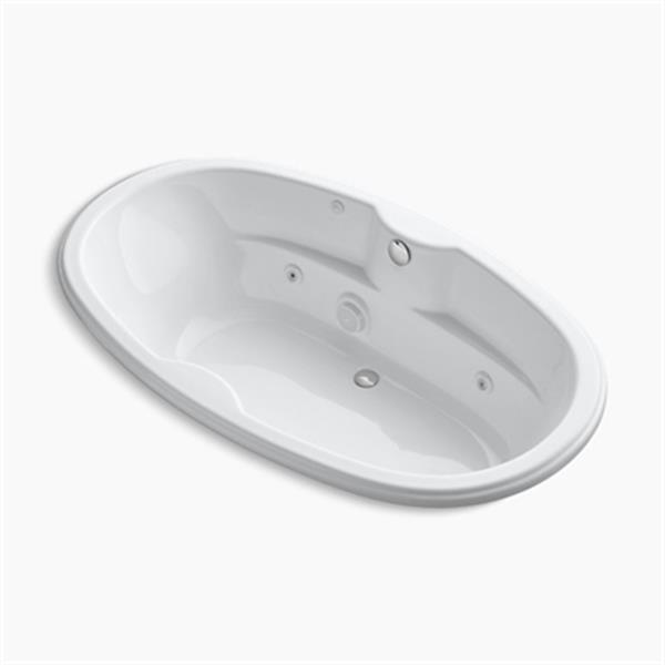 KOHLER 72-in x 42-in Oval Drop-in Whirlpool with Custom Pump Location and Heater