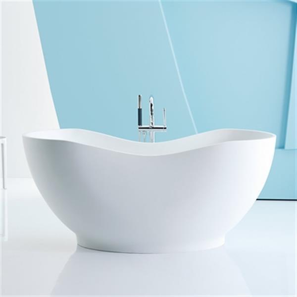 KOHLER 66-in x 32-in Cast Acrylic Freestanding Bath with Center Toe-Tap Drain