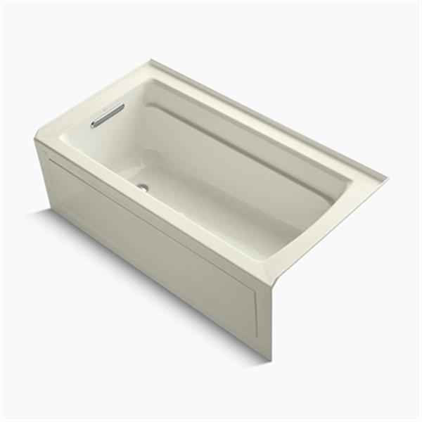 KOHLER BubbleMassage Air Bath 60-in x 32-in Three-Wall Alcove Bath with Integral Apron, Bask Heated Surface