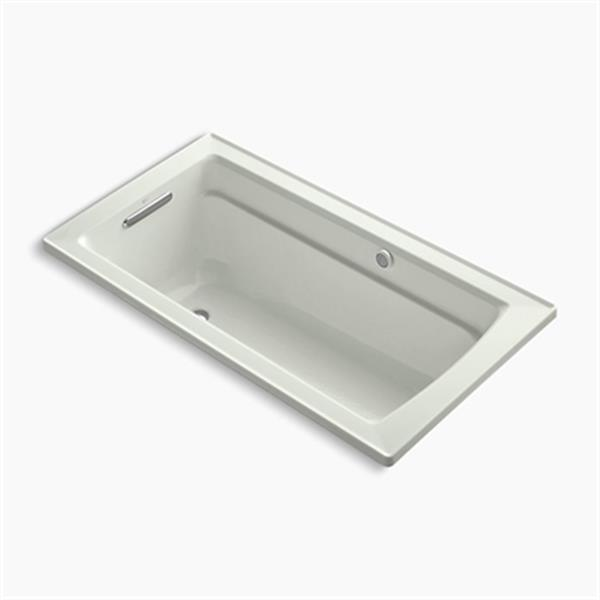 KOHLER BubbleMassage Air Bath 60-in x 32-in Drop-in Bath with Reversible Drain, Bask Heated Surface