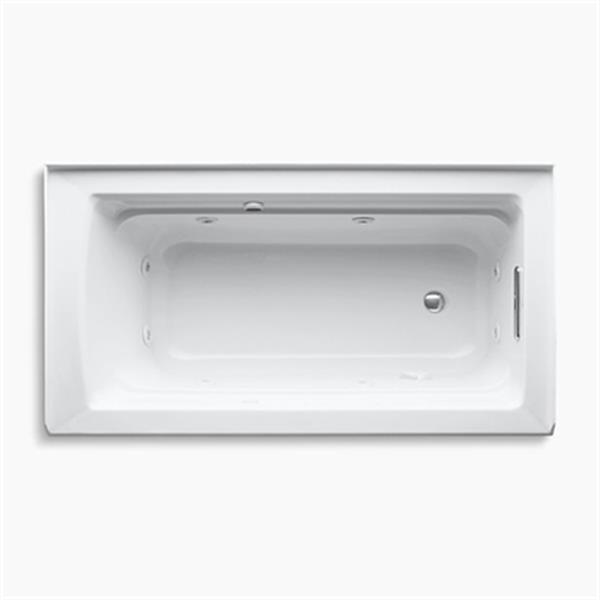 KOHLER 60-in x 32-in Alcove Whirlpool with Bask Heated Surface, Integral Apron, Tile Flange