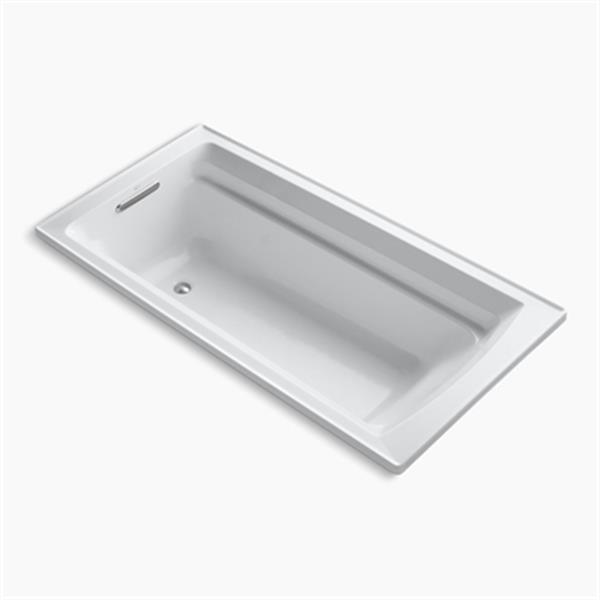 KOHLER 72-in x 36-in Drop-in Vibracoustic Bath with Bask Heated Surface and Reversible Drain