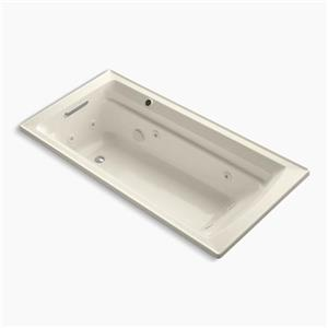 KOHLER 72-in x 36-in Drop-in Whirlpool with Reversible Drain and Bask Heated Surface