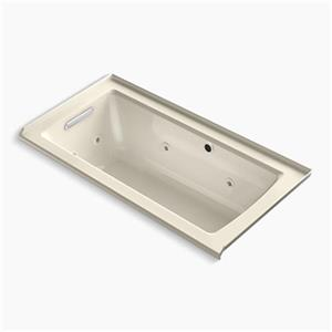 KOHLER 60-in x 30-in Alcove Whirlpool with Bask Heated Surface, Tile Flange