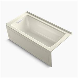 KOHLER VibrAcoustic 60-in x 30-in Integral Apron Bath with Bask Heated Surface, Tile Flange
