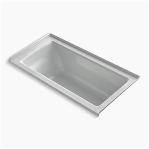 KOHLER VibrAcoustic 60-in x 30-in Three-Wall Alcove Bath with Bask Heated Surface, Tile Flange