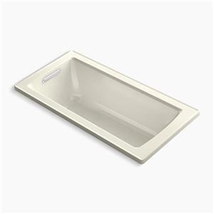 KOHLER VibrAcoustic 60-in x 30-in Drop-in Bath with Bask Heated Surface and Reversible Drain
