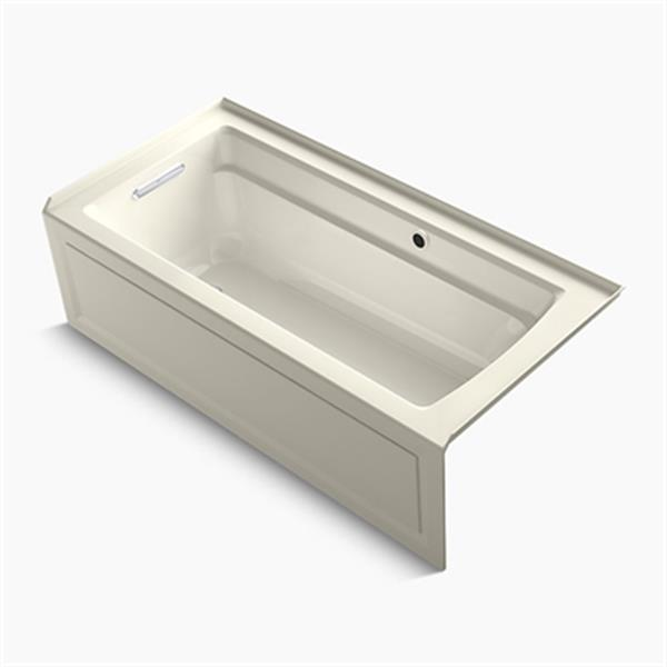 KOHLER 66-in x 32-in Alcove Bath with Bask Heated Surface, Integral Apron, Tile Flange