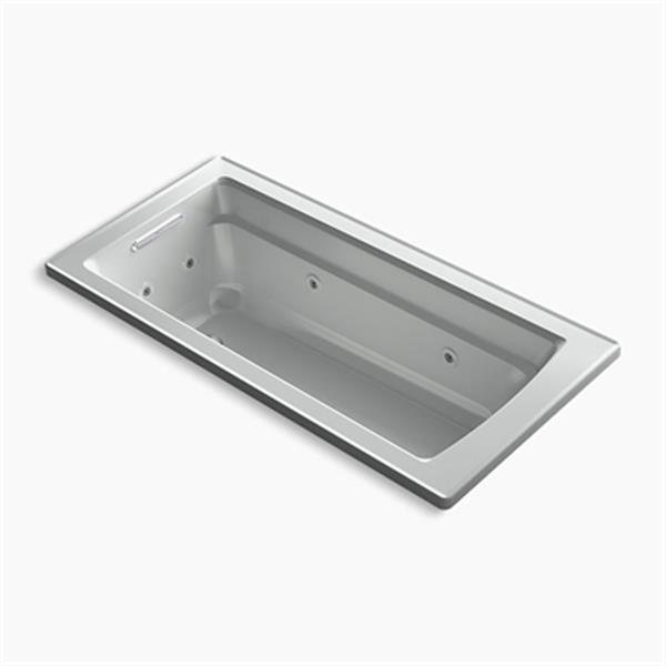 KOHLER 66-in x 32-in Drop-in Whirlpool with Reversible Drain and Heater