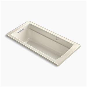 KOHLER 66-in x 32-in Drop-in Bubblemassage Air Bath with Bask Heated Surface and Reversible Drain