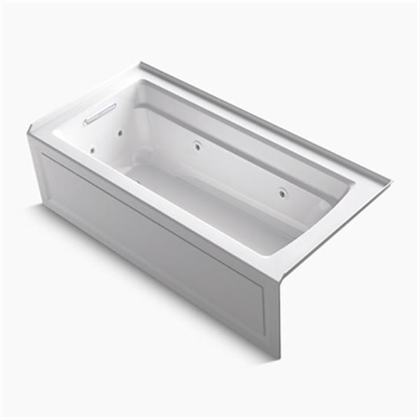 KOHLER 66-in x 32-in Integral Apron Whirlpool with Bask Heated Surface, Tile Flange and Left-Hand Drain