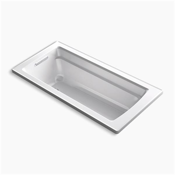 KOHLER VibrAcoustic 66-in x 32-in Drop-in Bath with Bask Heated Surface and Reversible Drain