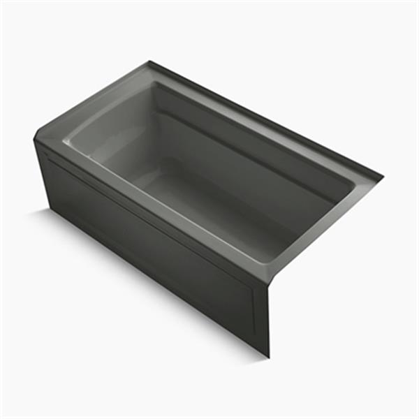 KOHLER 60-in x 32-in Alcove Bath with Bask Heated Surface, Integral Apron, Tile Flange and Drain
