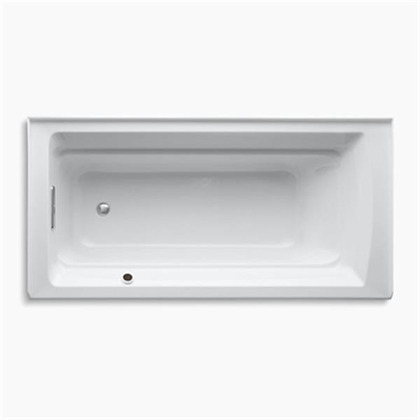 KOHLER 72-in x 36-in Alcove Bath with Bask Heated Surface and Drain