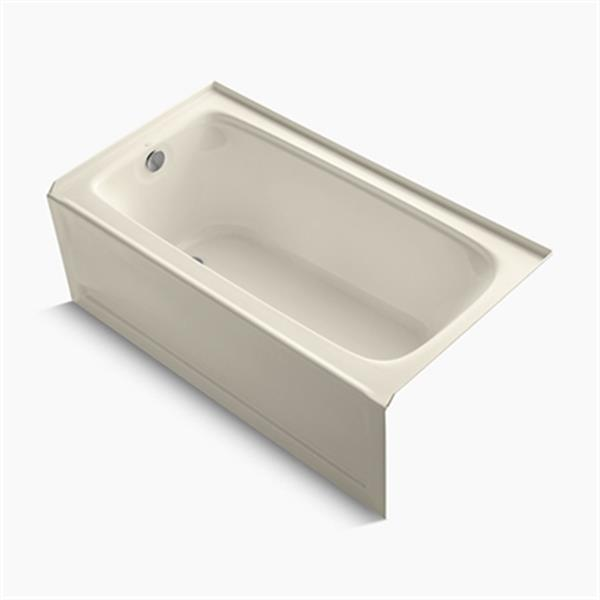 KOHLER 60-in x 32-in Alcove Bath with Bask Heated Surface, Integral Apron and Drain