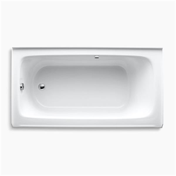 KOHLER 60-in x 32-in Alcove BubbleMassage Air Bath with Bask Heated Surface