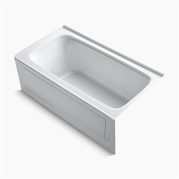 KOHLER 60-in x 32-in Alcove VibrAcoustic Bath with Bask Heated Surface and Drain