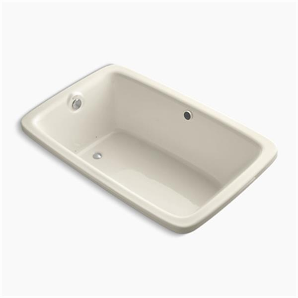 KOHLER BubbleMassage 66-in x 42-in Drop-in Air Bath with Bask Heated Surface and Reversible Drain