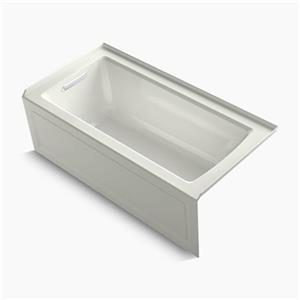 KOHLER 60-in x 30-in Alcove Bath with Integral Apron, Tile Flange and Drain