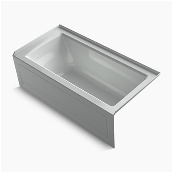 KOHLER 60-in x 30-in Alcove Bath with Bask Heated Surface, Integral Apron, Tile Flange and Drain