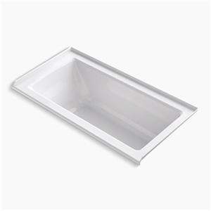KOHLER 60-in x 30-in Alcove Bath with Bask Heated Surface, Tile Flange and Drain