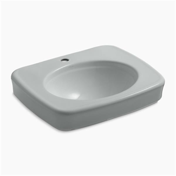 KOHLER Bancroft 24-in x 8.72-in Ice Grey China fire Clay Sink with Faucet Hole
