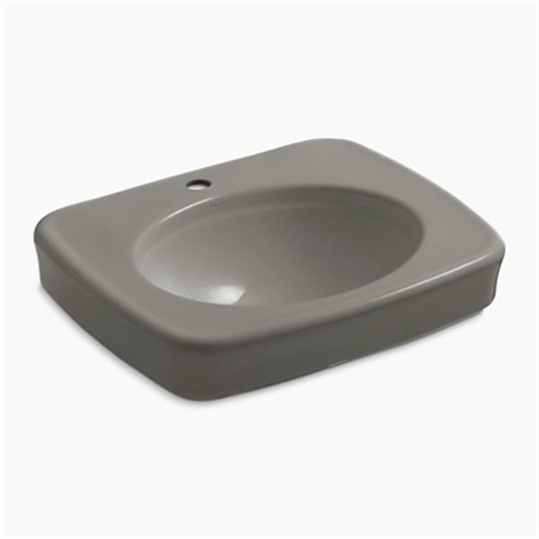 KOHLER Bancroft 24-in x 8.72-in Cashmere China fire Clay Sink with Faucet Hole