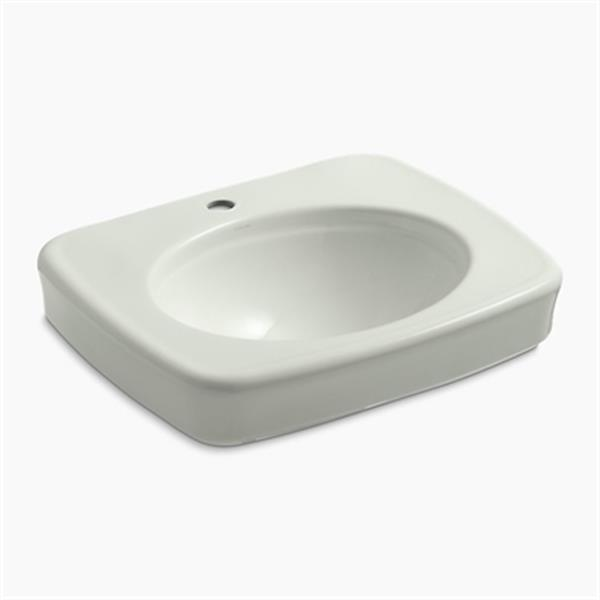 KOHLER Bancroft 24-in x 8.72-in Off White China fire Clay Sink with Faucet Hole