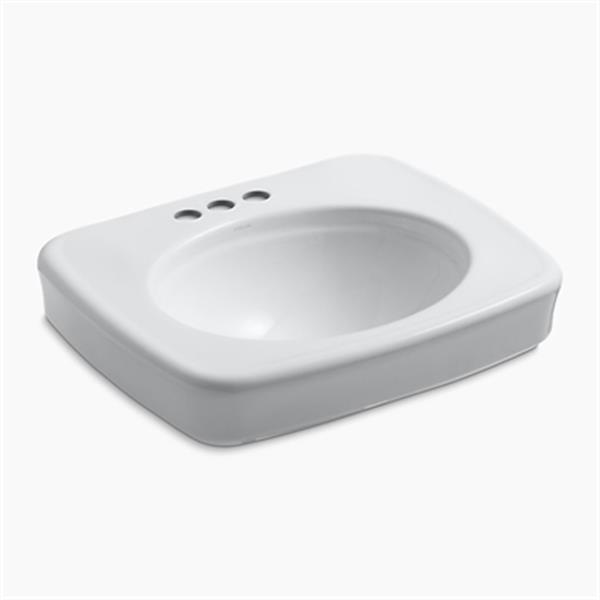 KOHLER Bancroft 24-in x 8.72-in White China fire Clay Sink with Faucet Hole