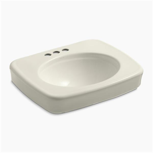 KOHLER Bancroft 24-in x 8.72-in Biscuit China fire Clay Sink with Faucet Hole