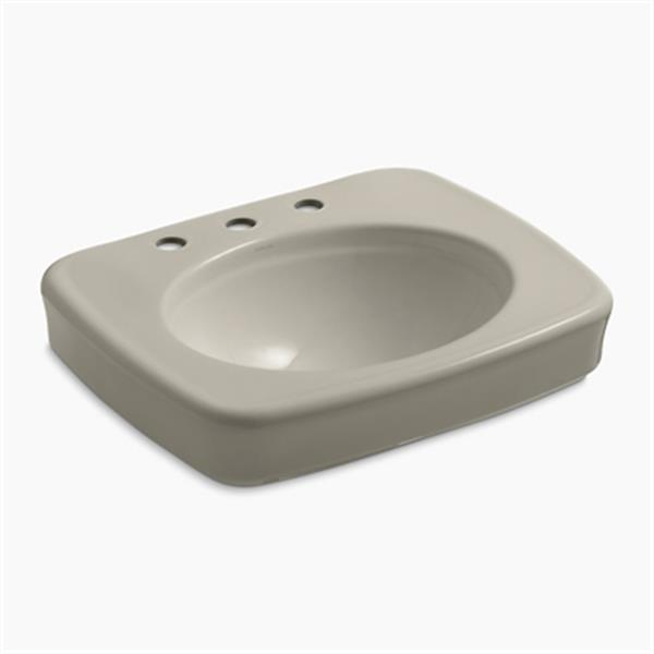 KOHLER Bancroft 24-in x 8.72-in Sandbar China fire Clay Sink with Faucet Hole