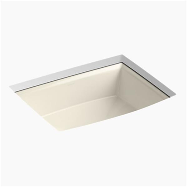 KOHLER Archer 19.88-in x 7.50-in Almond Porcelain Fire Clay Under Counter Sink