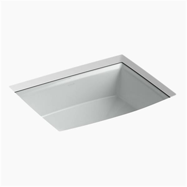 KOHLER Archer 19.88-in x 7.50-in Ice Grey Porcelain Fire Clay Under Counter Sink