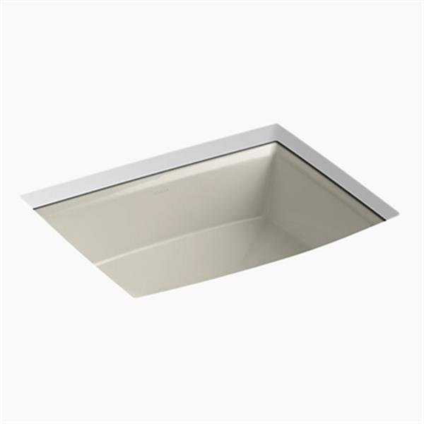 KOHLER Archer 19.88-in x 7.50-in Sandbar Porcelain Fire Clay Under Counter Sink