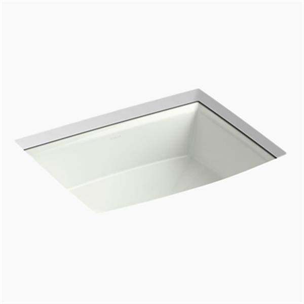 KOHLER Archer 19.88-in x 7.50-in Off White Porcelain Fire Clay Under Counter Sink