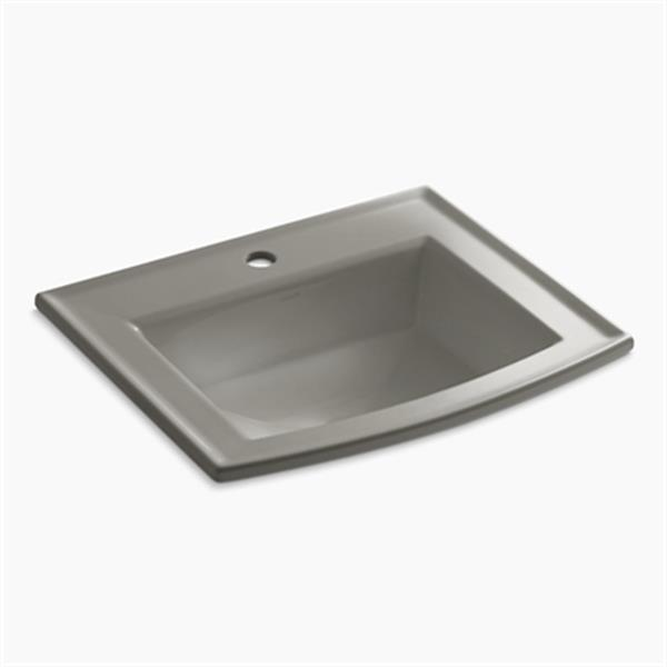 KOHLER Archer 19.44-in x 7.88-in Cashmere Porcelain Fire Clay Rectangular Self Rimming Sink with Faucet Hole
